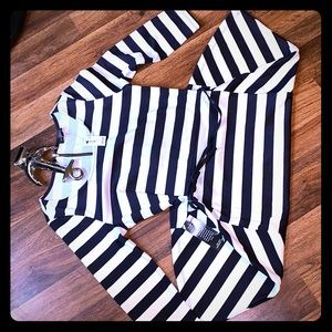 dress in white and dark blue stripes glued on